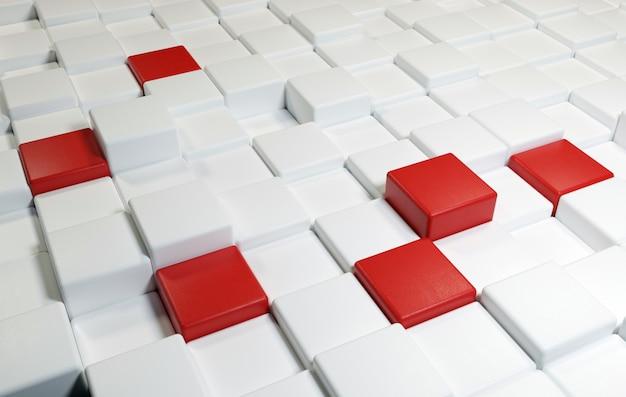Фон из квадратов с текстурой кожи и белого и красного цветов Premium Фотографии