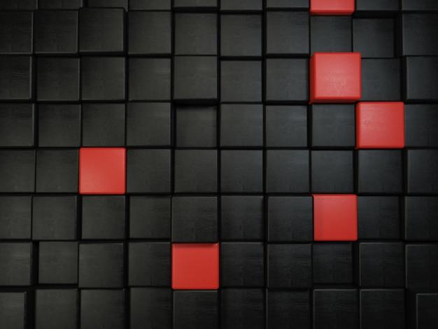 Фон из квадратов с текстурой кожи и черного и красного цветов Premium Фотографии