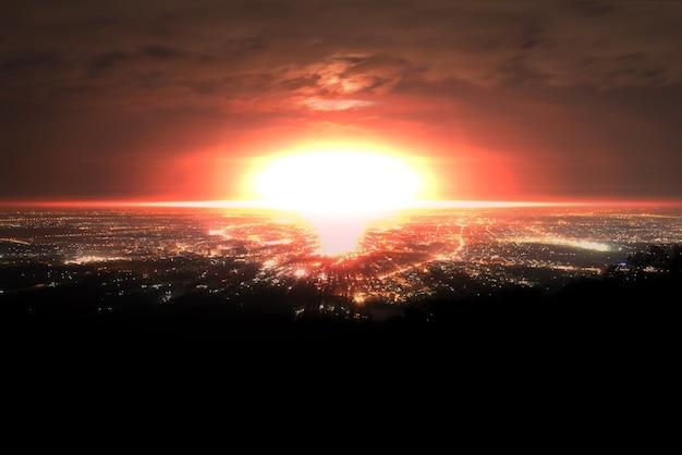 Взрыв ядерной бомбы над городом Premium Фотографии