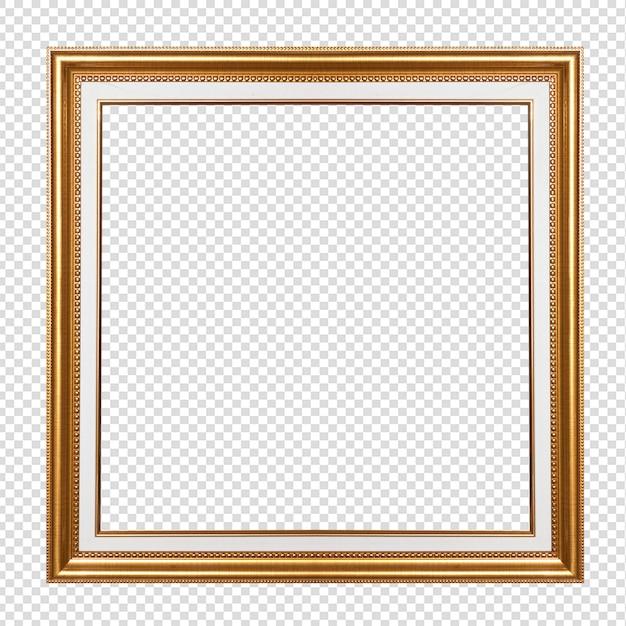 透明の分離されたゴールデン木製フレーム Premium写真