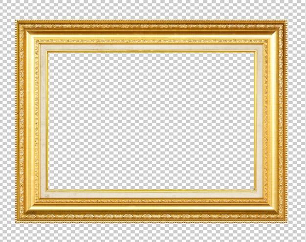 Золотая деревянная рама, изолированная на прозрачном Premium Фотографии