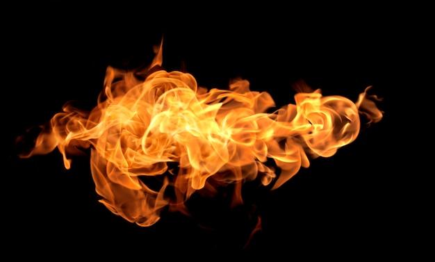 炎熱火の抽象的な背景黒の背景 Premium写真