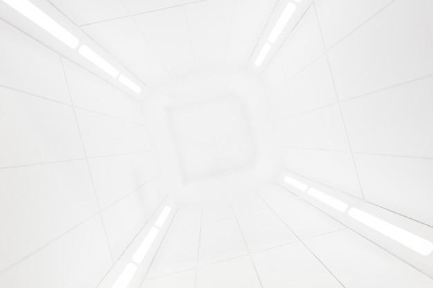 Космический корабль в центре интерьера с яркой белой текстурой Premium Фотографии
