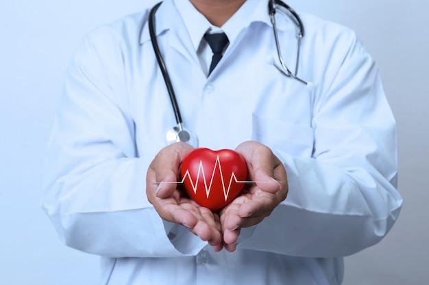 赤いハートを保持している医者 Premium写真