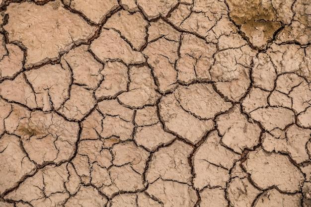 Земля с сухой и потрескавшейся землей. фон глобального потепления Premium Фотографии