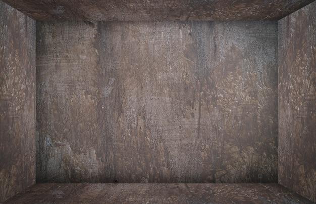 棚製品の表示のための錆びたボックスルームキューブ Premium写真