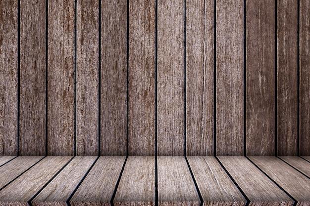 テクスチャと背景の空の上の木製の棚 Premium写真