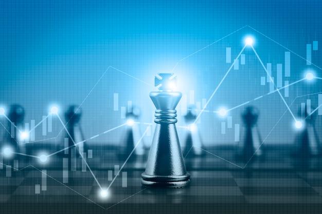 График акций финансового рынка с двойной экспозицией и соревнованием по настольной игре в шахматы Premium Фотографии