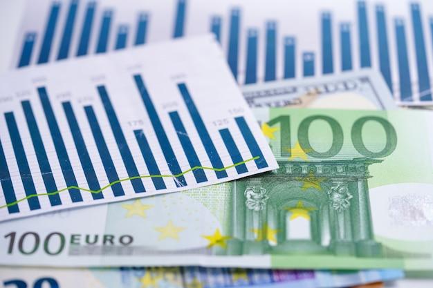 チャートグラフスプレッドシート紙の上の米ドルとユーロ紙幣のお金。 Premium写真