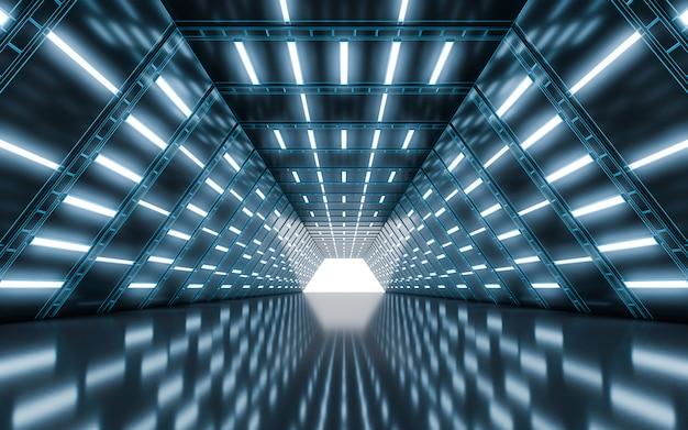 Освещенный коридор туннеля со светом Premium Фотографии