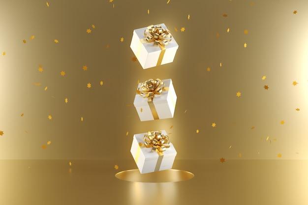 Белая подарочная коробка с золотой лентой цвета плавающей на золотом фоне Premium Фотографии