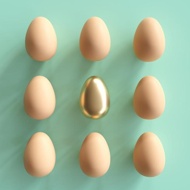 緑色の背景で自然な卵の中で際立った黄金の卵。最小限のイースターの考え。 Premium写真