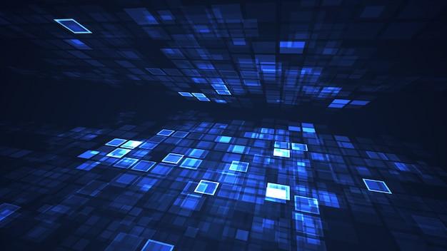 Абстрактный синий графический мигающий прямоугольник сетки перспективы фон Premium Фотографии