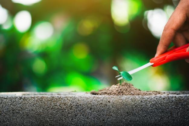 Росток, растущий на земле, и рука, держащая ножницы, собираются разрезать его, разрушить новую жизнь и надежду Premium Фотографии