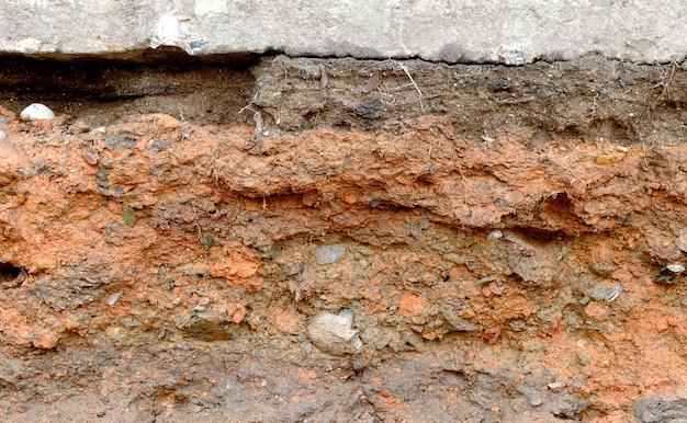 Слои крупным планом почвы и текстуры горных пород Premium Фотографии