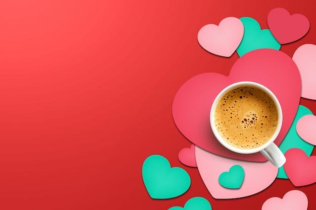 С днем святого валентина концепции. чашка кофе на бумаге в форме сердца Premium Фотографии