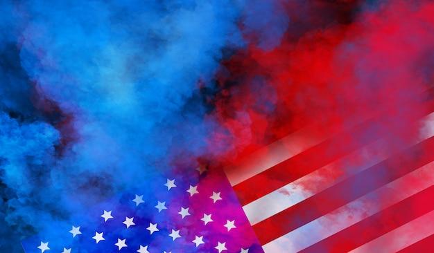 独立、退役軍人、労働、記念日の米国の壁のデザインをフラグします。黒い壁にカラフルな煙 Premium写真