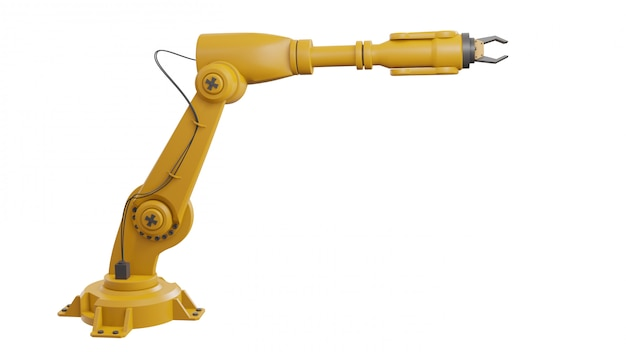 白い背景上に分離されて別の産業用ロボット Premium写真