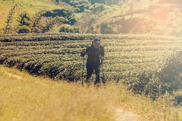 ランナー。山道を走る若者のトレイル。山のライフスタイルで走るアドベンチャートレイル。 Premium写真
