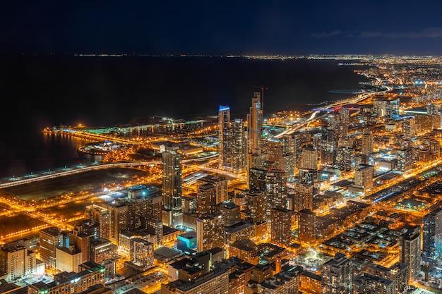 シカゴの街並みの空撮 Premium写真
