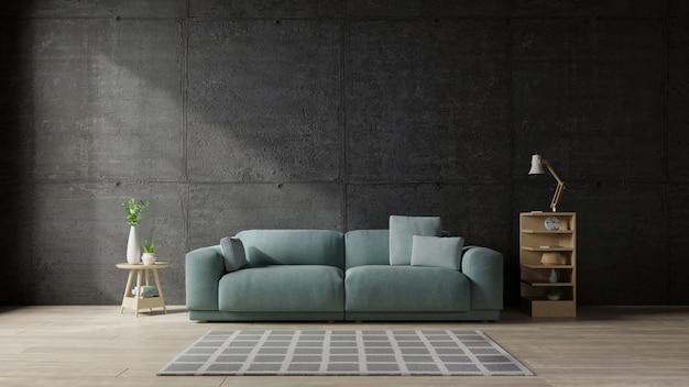 モダンなリビングルームのコンクリートの壁にソファ。 Premium写真