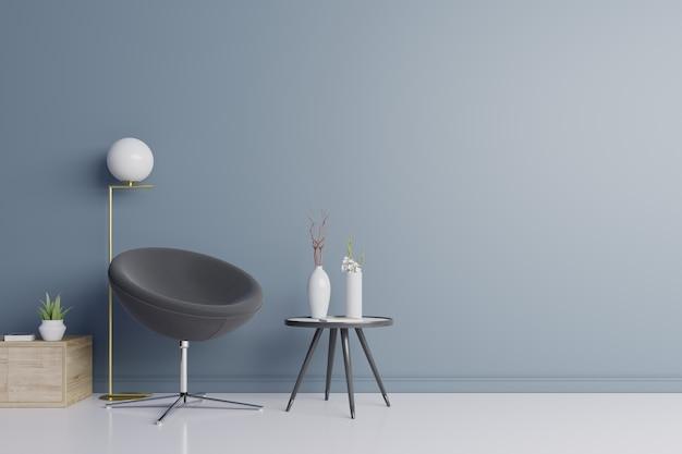 リビングルームの暗い肘掛け椅子。 Premium写真