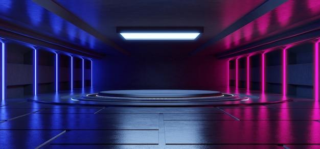コンクリートの背景を持つ製品を配置するための黒の背景に抽象的な青とピンクのネオンの光の形。 Premium写真