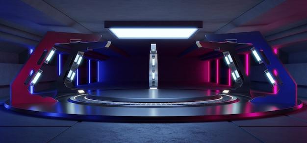 空のライトブルーとピンクのスタジオルームライトブルーの空のステージと未来的なインテリア Premium写真