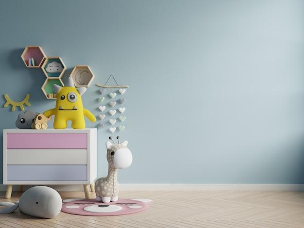 Макет стены в детской комнате на стене синего цвета фона. Бесплатные Фотографии