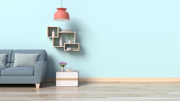 Интерьер с диван-лампа и зеленые растения на фоне белой стены Premium Фотографии