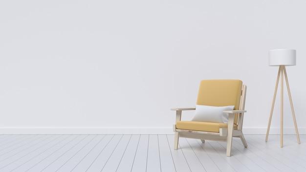 Современный интерьер гостиной с креслом и лампой Premium Фотографии