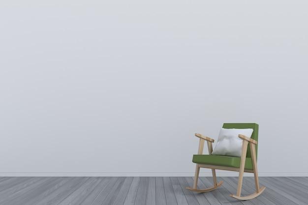 緑のアームチェアのある部屋木製の床 Premium写真