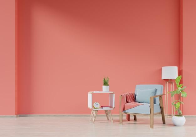 Современный интерьер гостиной с креслом Premium Фотографии