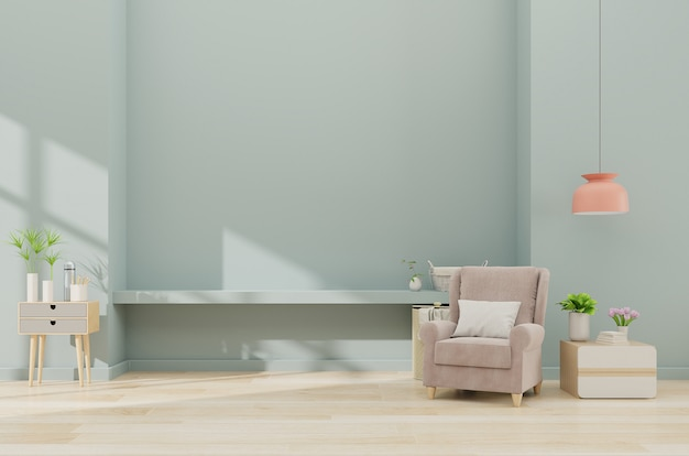 Современный минималистский интерьер с креслом на фоне пустой синей стены Premium Фотографии