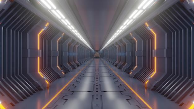 空の暗い未来的なサイエンスフィクションルーム、宇宙船の廊下オレンジライト Premium写真