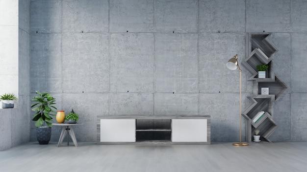 モダンなリビングルームの壁にセメントスクリーン壁付きモルタルレーキテレビ。 Premium写真