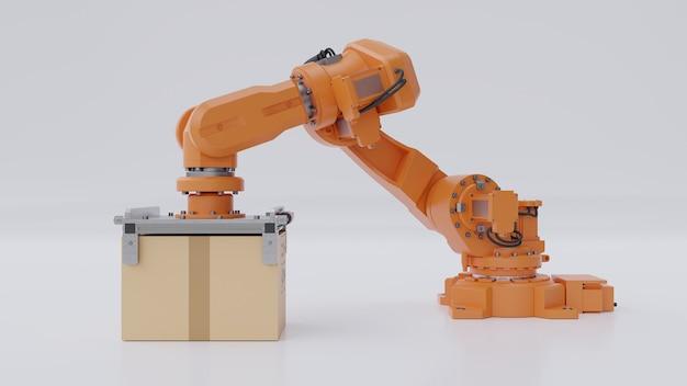 オレンジ色のロボットアームが段ボール箱を運んでいます。 Premium写真