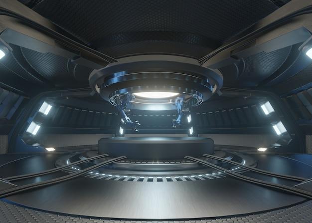 Комнаты будущего с подиумом и механической рукой Premium Фотографии