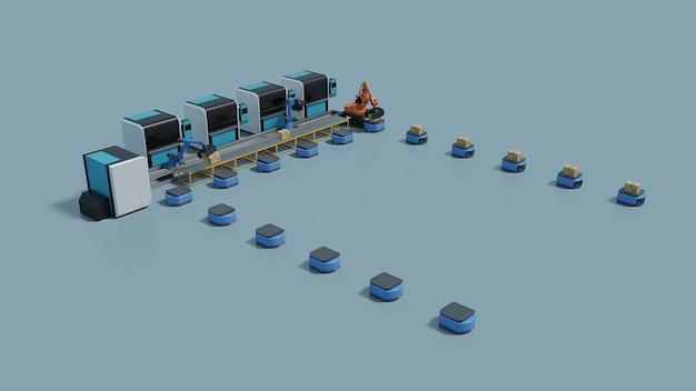 Фабричная автоматизация с автоматизированным управляемым транспортным средством и роботизированной рукой. Premium Фотографии