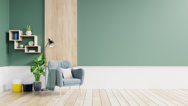 青い肘掛け椅子と木製の棚と緑と白の壁とパステル調のモダンなインテリアの空の壁。 Premium写真