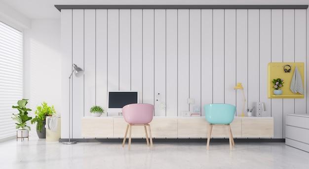 Рабочая комната состоит из белых стен, белых стен. Premium Фотографии