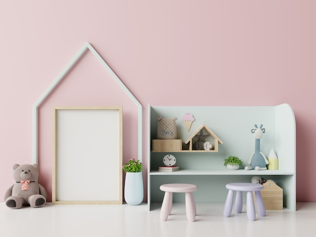 ピンクの背景の子供部屋のインテリアのポスター。 Premium写真