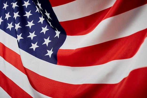 アメリカの国旗の波を閉じる Premium写真