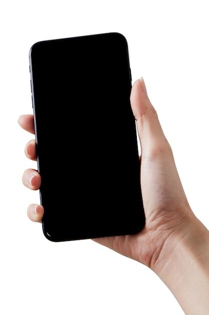 Крупным планом рука держать смартфон Premium Фотографии