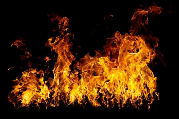 本物のファイアウォールと熱い炎が黒く燃えています Premium写真