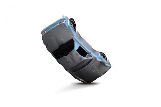 損傷のシーン - 交通事故の概念と青い車の事故 Premium写真