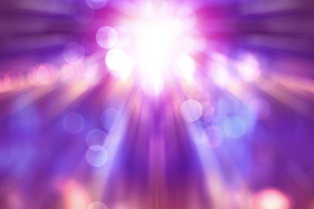 ステージ上に紫色のライトが付いている劇場ショーをぼかし、コンサート照明の抽象的なイメージ Premium写真