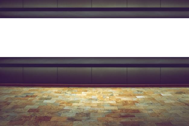 展示室の暗い背景に空のスペースボード Premium写真
