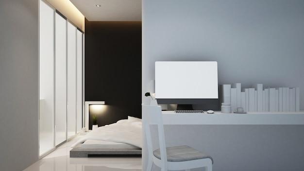 Рабочее место и спальня отеля или квартиры, интерьер Premium Фотографии