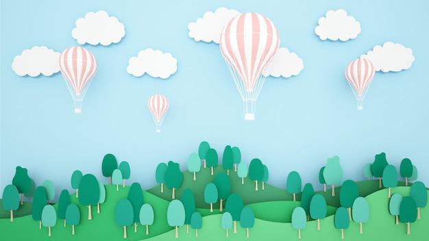 山と空の背景に熱気球のイラスト。気球国際祭りのためのアートワーク。 Premium写真